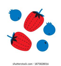 Berries strawberries, blueberries set vector banner. Cartoon flat fruits illustration. Strawberries, blueberries red blue icons set. Abstract fruit illustration. Scandinavian design.