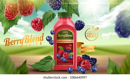 Berry blend bottled juice with fresh fruits on wooden table in 3d illustration, natural bokeh background