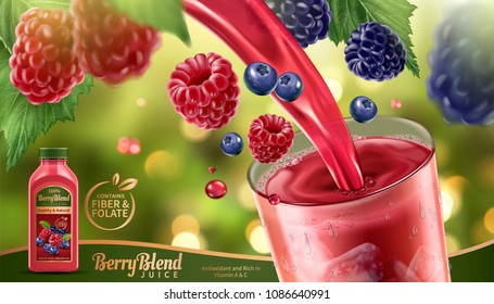 Berry blend juice with fresh fruits floating in the air and liquid pouring into a glass cup in 3d illustration, glittering bokeh background