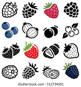 Berry fruit icon collection - Raspberry , Strawberry and Blackberry - vector outline and silhouette