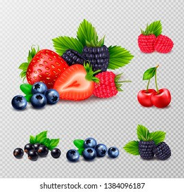 Berry fruit realistic set with clusters of ripe berries and green leaves images on transparent background vector illustration