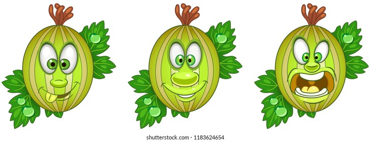 Berry. Gooseberry. Fruit Food concept. Emoji Emoticon collection. Cartoon characters for kids coloring book, colouring pages, t-shirt print, icon, logo, label, patch, sticker.