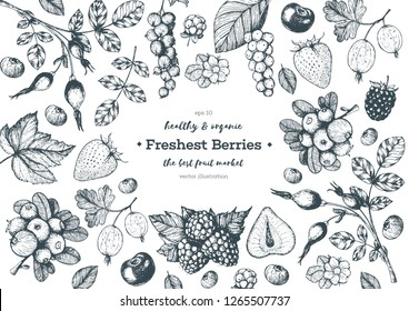 Berry  hand drawn, vector illustration frame. Hand drawn sketch illustration with currant, cranberry, blackberry, cherry, gooseberry, raspberry, strawberry. Healthy food design template with berry