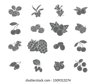 Berry Icons set - Vector black solid silhouettes of strawberry, raspberry, cherry, blueberry, cloudberry, dogrose and cranberry for the site or interface