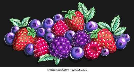 Berry mix Cartoon illustration