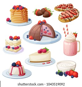 Berry mix dessert collection. Cartoon style vector icons isolated on white background. Sweet food illustration set