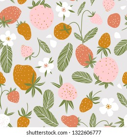 3072e66e Berry seamless pattern for fabric design. Vector repeat background with  strawberry and flowers.