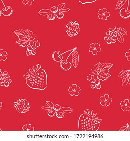 Berry seamless pattern. Fruit red background. Outline of raspberry, strawberry, cherry, blueberry, currants and flowers. Simple vector monochrome illustration.