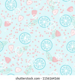 Berry seamless pattern with strawberries, cherries, oranges and leaves on a light background. Fruit compote. Sweet berries. A cut of an orange. For fabric, plastic, wrapping paper, cover.