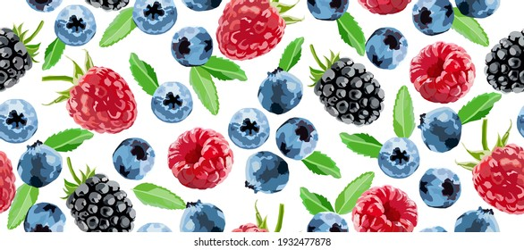 Berry vector seamless pattern. Raspberry, blackberry and blueberry background