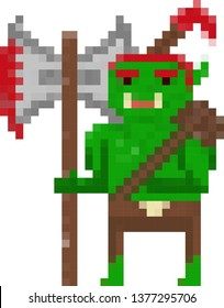 a berserker orc with his axe (pixel icon)