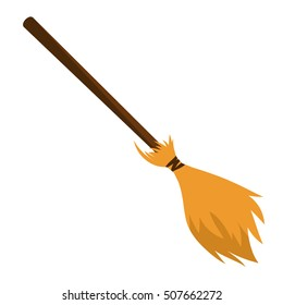besom made from twigs on a long wooden handle. vector illustration of broom for cleaning isolated on white background. Witches Halloween and Christmas accessory object.