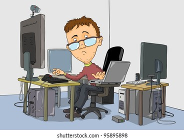 Bespectacled guy is working on several computers