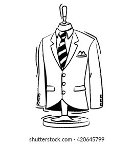 Bespoke Suit Jacket and Tie Vector Icon - Rough style, compound paths