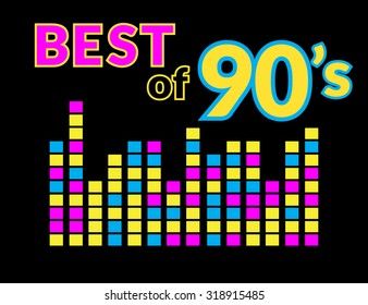Best of 90s illistration with colourful equalizer on black background