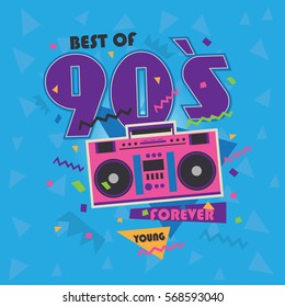 Best of 90s illistration with realistic tape recorder on blue background
