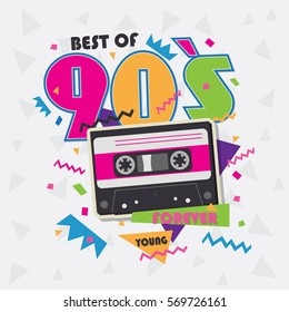 Best of 90s illistration with realistic tape cassette on pink background