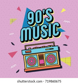 Best of 90s illustration with realistic tape recorder on ourple background