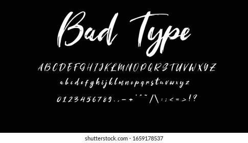 """Best Alphabet """"Bad Type"""" Brush Script Font. handwritten type font lettering"""