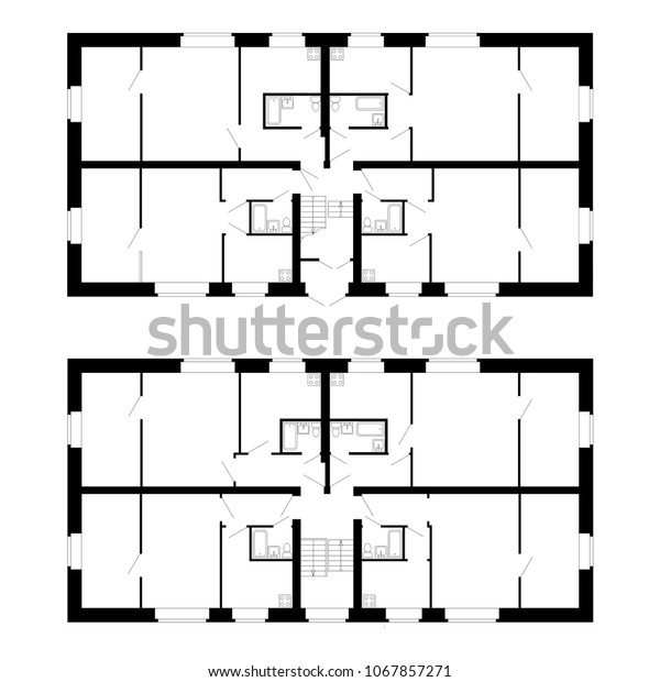 Best Apartment House Floor Plans Unfurnished Stock Vector ...