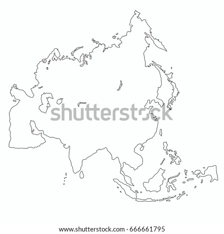 Best Asia Outline World Map Stock Vector (Royalty Free) 666661795 ...