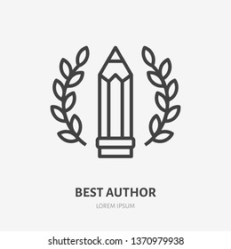 Best author achievement flat line icon. Pen with wreath vector illustration. Thin sign for literary, grammar contest, writer logo.