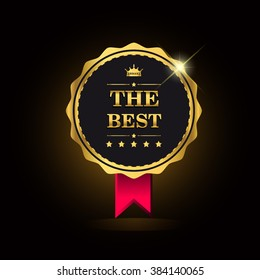 The Best award label golden colored with ribbon and crown, vector illustration.