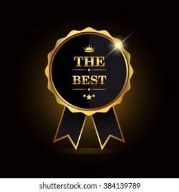 The Best award label. Golden ribbon with crown symbol.