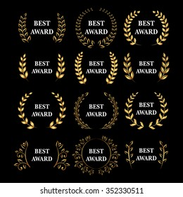 Best award Vector gold award laurel wreath set. Winner label, leaf symbol victory, triumph and success illustration set.