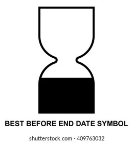 Best before end date cosmetic symbol , use within symbol , isolated sand clock symbol