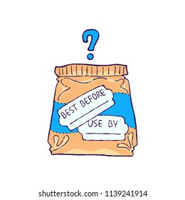 'Best before' and 'use by' expiration date confusion. Vector illustration. Food waste doodle concept design.