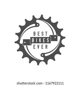 Best Bikes Ever Emblem. Design Element for Bike Shop or Advertising Banner. Chainring and Ribbon, Monochrome Vector Illustration.