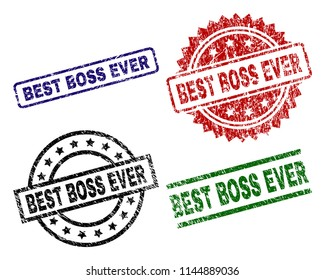 BEST BOSS EVER seal prints with corroded texture. Black, green,red,blue vector rubber prints of BEST BOSS EVER tag with corroded style. Rubber seals with round, rectangle, medal shapes.