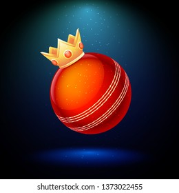 Best bowling cricket award poster design with illustration of cricket ball and golden winner crown on shiny background.
