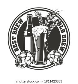 Best brew emblem design. Monochrome element with glass and bottle of beer, hops and wheat vector illustration with text. Alcohol and brewery concept for stamps and labels templates