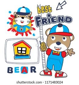 best briend animal cartoon vector