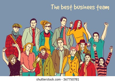 Best business team group happy color people. Color vector illustration. EPS8