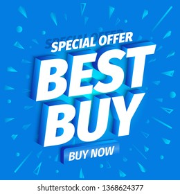 Best buy. 3d letters on a blue background. Advertising promotion poster with button. Special offer slogan, super call for purchases offer. Vector color Illustration text marketing clipart.