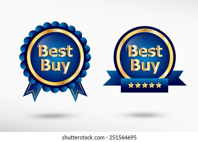 Best Buy message stylish quality guarantee badges. Blue colorful promotional labels