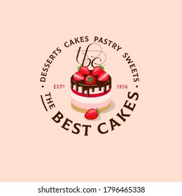 The best cakes logo. Sweets and desserts emblem. Bakery and cafe logo. A beautiful cake with strawberry, chocolate and curly monogram. Sign for bakery.