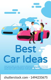Best car ideas poster vector template. Brochure, cover, booklet page concept design with flat illustrations. Car dealership, showroom consultant. Advertising flyer, leaflet, banner layout idea