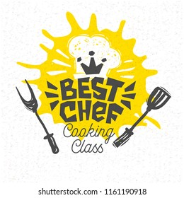 Best chef, cooking school, culinary classes, studio, logo, utensils, apron, fork, knife, master chef. Lettering, calligraphy logo, sketch style, welcome. Hand drawn vector illustration.