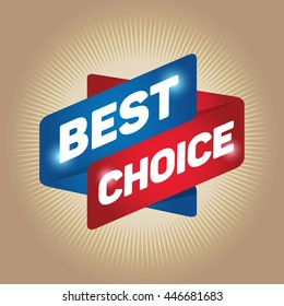 BEST CHOICE arrow tag sign icon. Special offer label. Gold background.