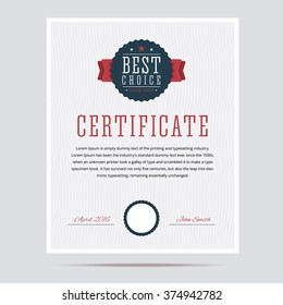 Best choice certificate.Vector illustration.