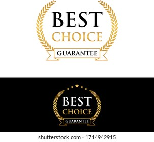 best choice guarantee golden badge and label vector