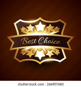 best choice label design with golden stars and ribbon