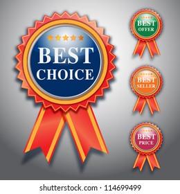 best choice label, vector design.
