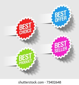 Best choice, best offer, best product and best seller tags. Vector.