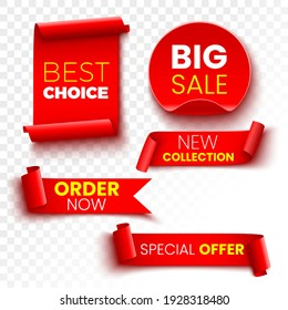 Best choice, order now, special offer, new collection and big sale banners. Red ribbons, tags and stickers. Vector illustration.