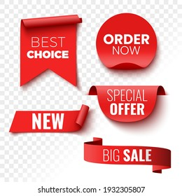Best choice, order now, special offer, new and big sale banners. Red ribbons, tags and stickers. Vector illustration.